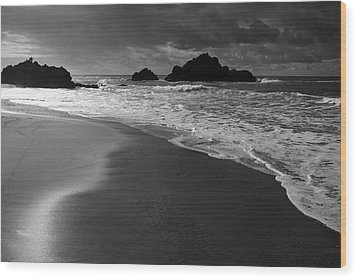 Big Sur Black And White Wood Print by Pierre Leclerc Photography