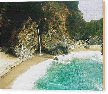 Big Sur Waterfall Wood Print by Jerome Stumphauzer