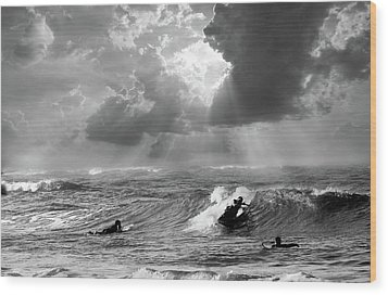 Big Surf Wood Print by John Hix