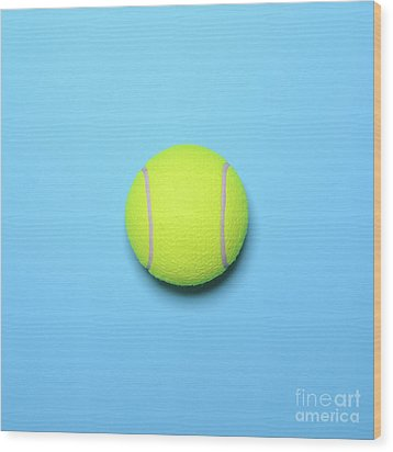 Big Tennis Ball On Blue Background - Trendy Minimal Design Top V Wood Print by Aleksandar Mijatovic