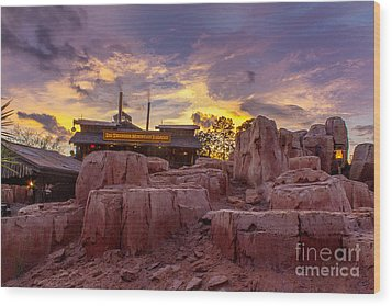Big Thunder Mountain Sunset Wood Print