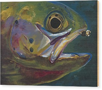 Big Trout Wood Print by Les Herman