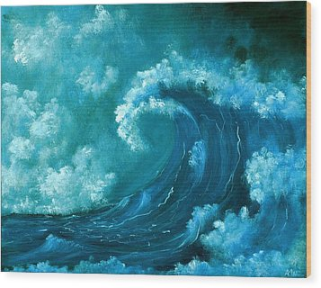 Wood Print featuring the painting Big Wave by Anastasiya Malakhova