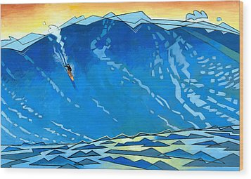Big Wave Wood Print by Douglas Simonson