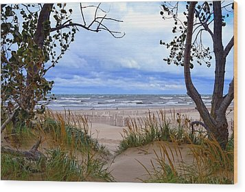 Big Waves On Lake Michigan 2.0 Wood Print by Michelle Calkins