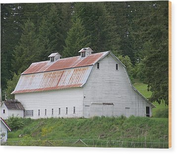 Big White Old Barn With Rusty Roof  Washington State Wood Print by Laurie Kidd