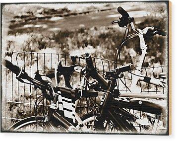 Bike Against The Fence Wood Print by Madeline Ellis