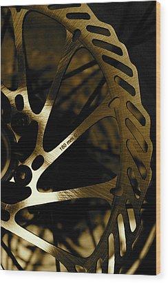 Bike Brake Wood Print by Angie Wingerd