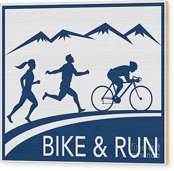 Bike Cycle Run Race Wood Print by Aloysius Patrimonio