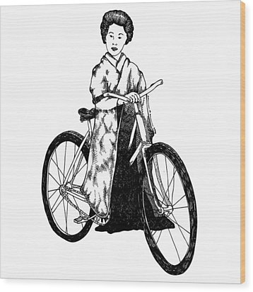 Bike Geisha Wood Print by Karl Addison
