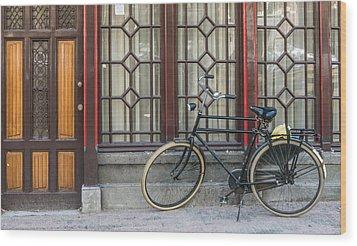 Bike In Amsterdam Wood Print