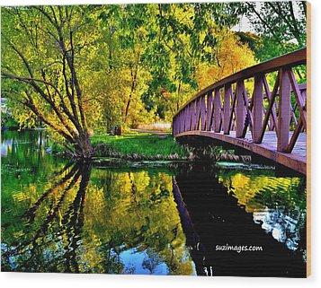 Bike Path Bridge Wood Print