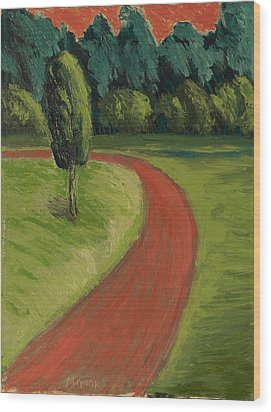 Wood Print featuring the painting Bike Path Through The Greenbelt by Clarence Major