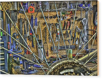 Bike Repair Shop Wood Print by Irwin Seidman