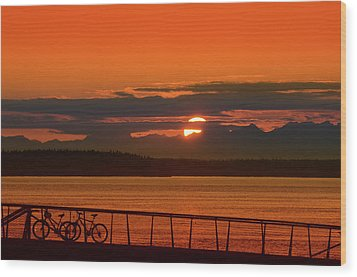 Bike Sunset Wood Print