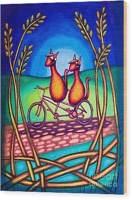 Biker Kats Wood Print by Laurie Tietjen