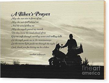 Biker's Prayer Wood Print