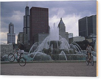 Bikers Tour Around Chicago Wood Print by Stacy Gold