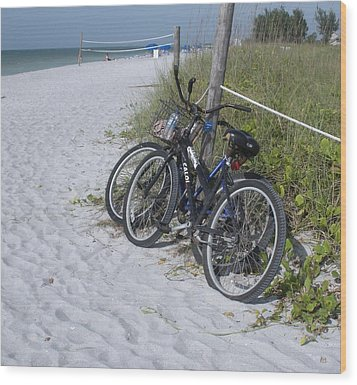 Bikes On The Beach Wood Print by Jeanette Oberholtzer