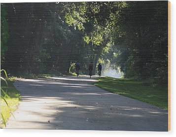 Wood Print featuring the photograph Biking by Michael Albright