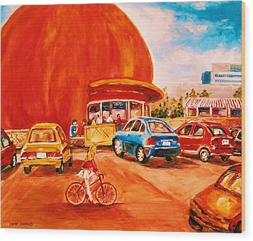 Biking Past The Orange Julep Wood Print by Carole Spandau