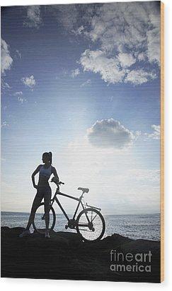 Biking Silhouette Wood Print by Brandon Tabiolo - Printscapes