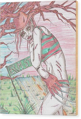 Bikini Freddy Wood Print by Michael Toth
