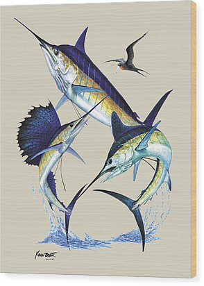 Billfish Slam Wood Print