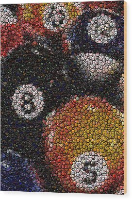 Billiard Ball Bottle Cap Mosaic Wood Print by Paul Van Scott