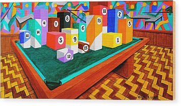 Wood Print featuring the painting Billiard Table by Cyril Maza