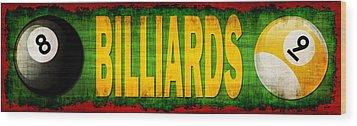 Billiards Wood Print by David G Paul