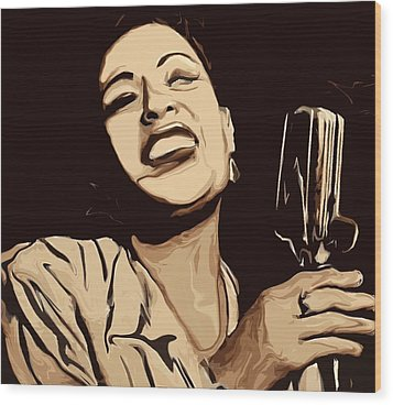 Billie Holiday Wood Print by Jeff DOttavio