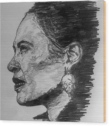 Billie Holiday Wood Print by Rachel Natalie Rawlins