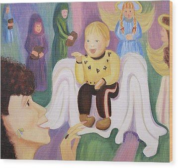 Billy As Baby Jesus Wood Print by Suzanne  Marie Leclair