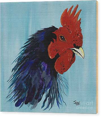 Wood Print featuring the painting Billy Boy The Rooster by Janice Rae Pariza