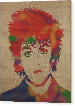 Billy Joe Armstrong Green Day Watercolor Portrait Wood Print
