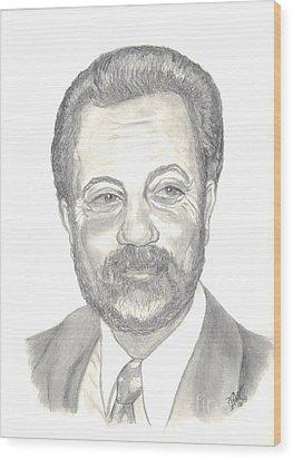 Wood Print featuring the drawing Billy Joel Portrait by Carol Wisniewski
