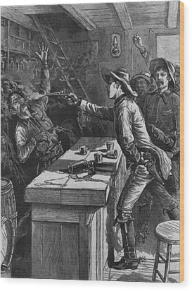 Billy The Kid 1859-81, Shooting Wood Print by Everett