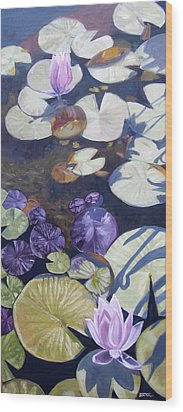 Wood Print featuring the painting Biltmore Lilypads by Robert Decker