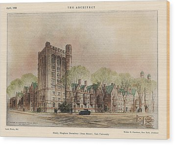 Bingham Dormitory. Yale University. New Haven Connecticut 1926 Wood Print by Walter Chambers