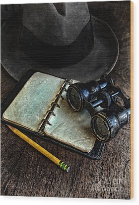 Binoculars Fedora And Notebook Wood Print