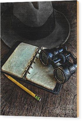 Binoculars Fedora And Notebook Wood Print by Jill Battaglia