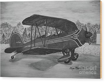 Biplane In Black And White Wood Print by Megan Cohen