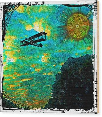 Wood Print featuring the digital art Biplane by Iowan Stone-Flowers
