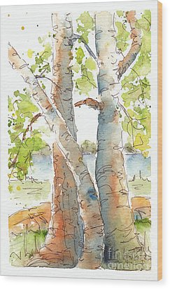 Birch Buddies Wood Print