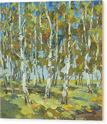 Wood Print featuring the painting Birch Forest by Dmitry Spiros