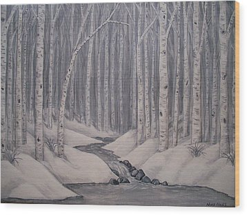 Birch Forest Wood Print by Nora Niles