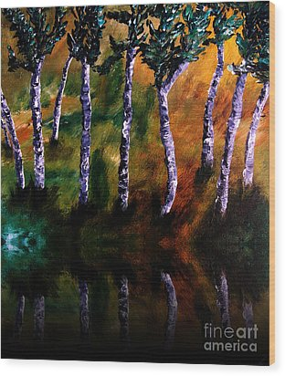 Birch Forest Reflections Wood Print