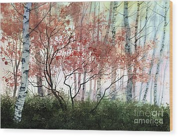 Birch Forest Wood Print by Sergey Zhiboedov