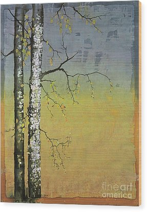 Birch In A Golden Field Wood Print by Carolyn Doe